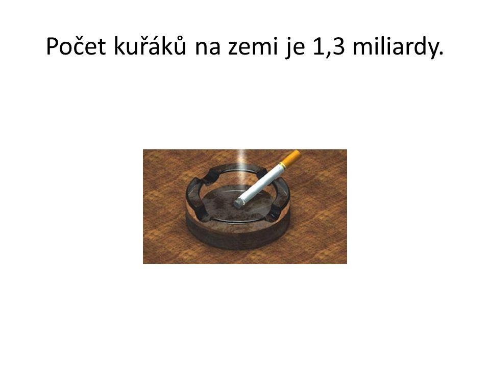 Počet kuřáků na zemi je 1,3 miliardy.