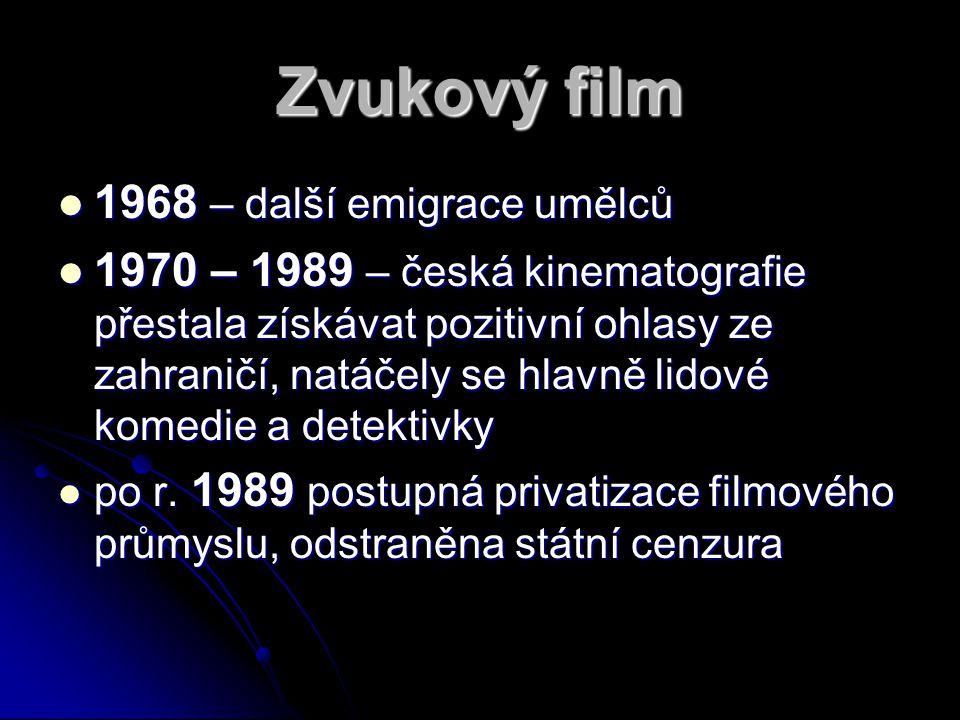 Zvukový film 1968 – další emigrace umělců