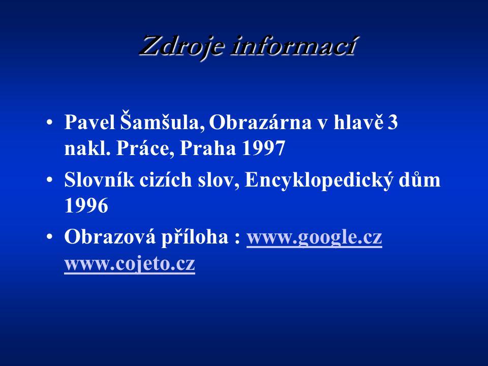 Zdroje informací Pavel Šamšula, Obrazárna v hlavě 3 nakl. Práce, Praha 1997. Slovník cizích slov, Encyklopedický dům 1996.