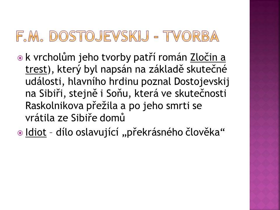 f.m. Dostojevskij - tvorba