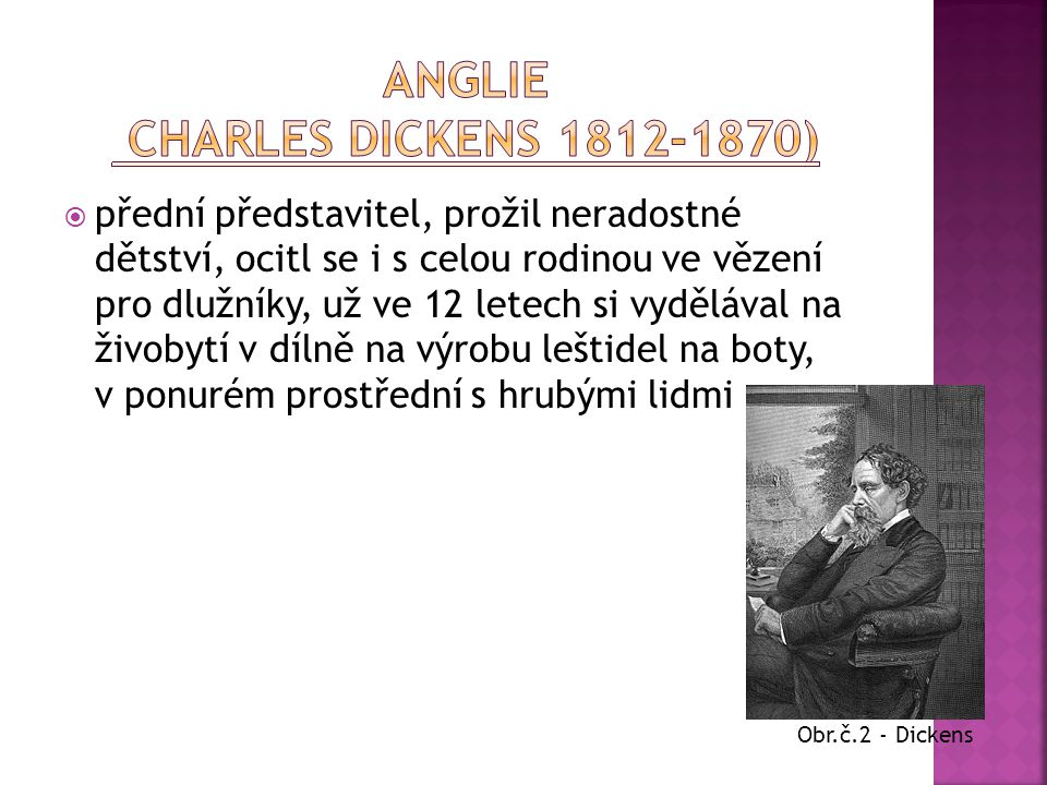 Anglie Charles Dickens 1812-1870)