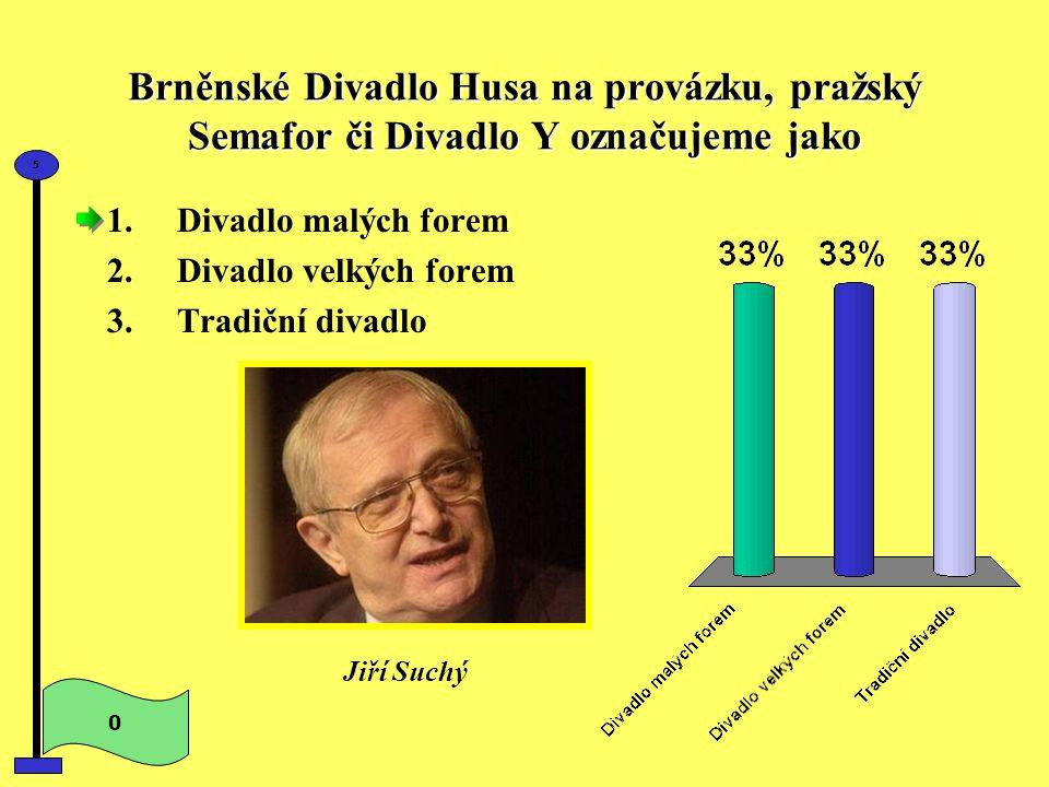 Brněnské Divadlo Husa na provázku, pražský Semafor či Divadlo Y označujeme jako