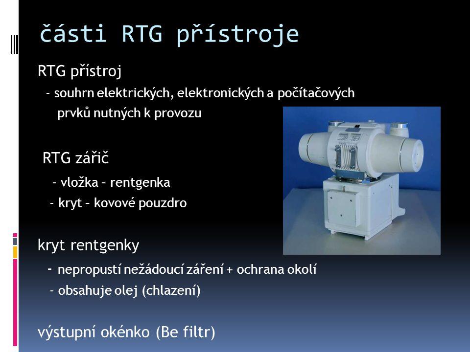 části RTG přístroje RTG přístroj RTG zářič - vložka – rentgenka