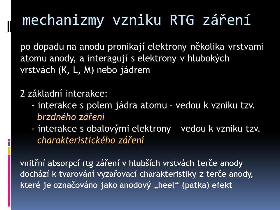 mechanizmy vzniku RTG záření