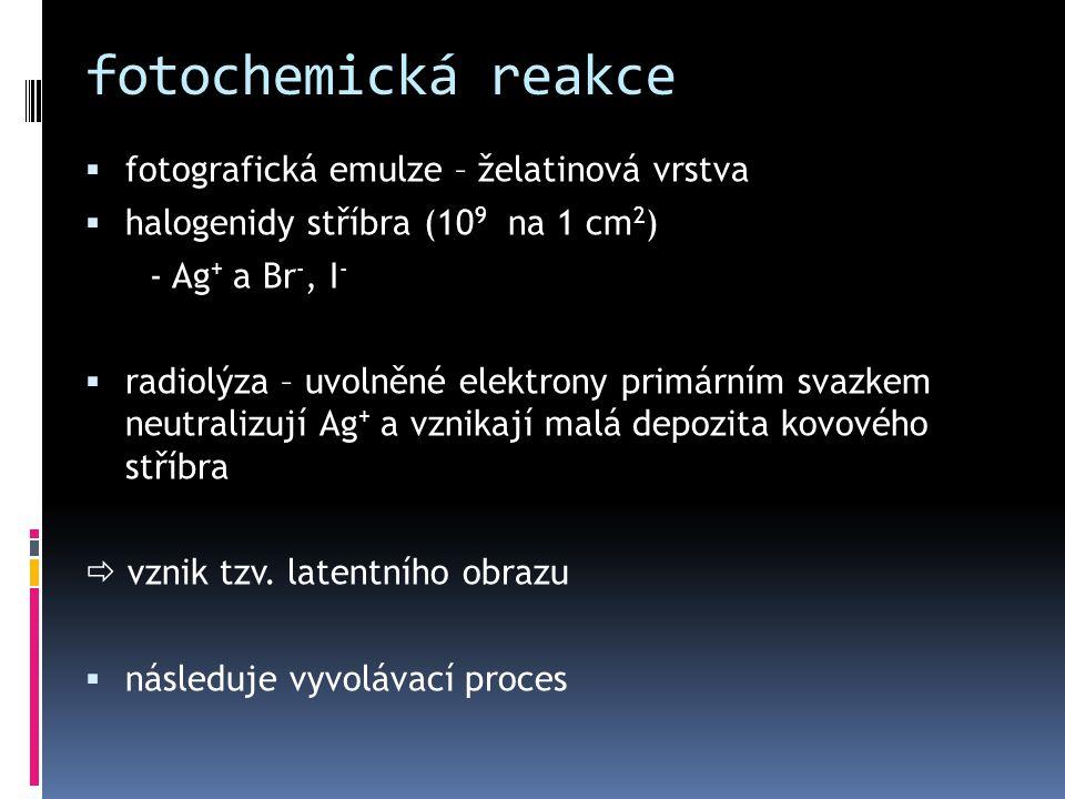 fotochemická reakce fotografická emulze – želatinová vrstva