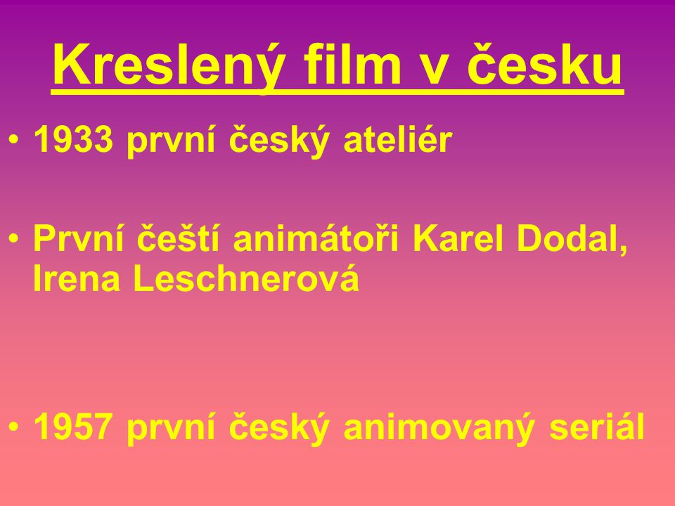 Kreslený film v česku 1933 první český ateliér