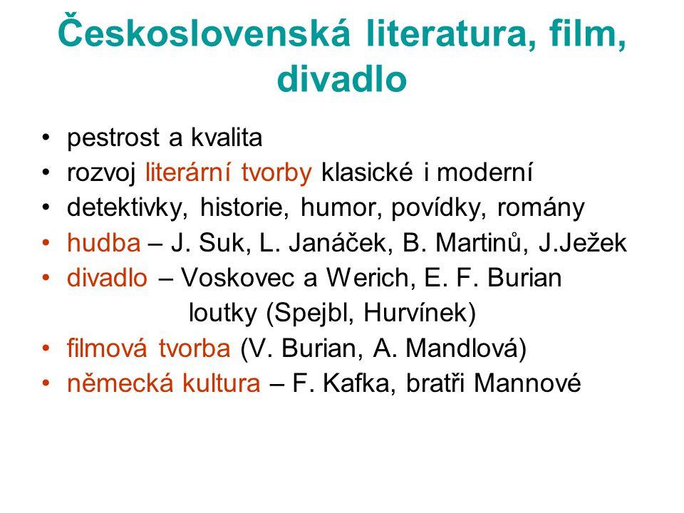 Československá literatura, film, divadlo