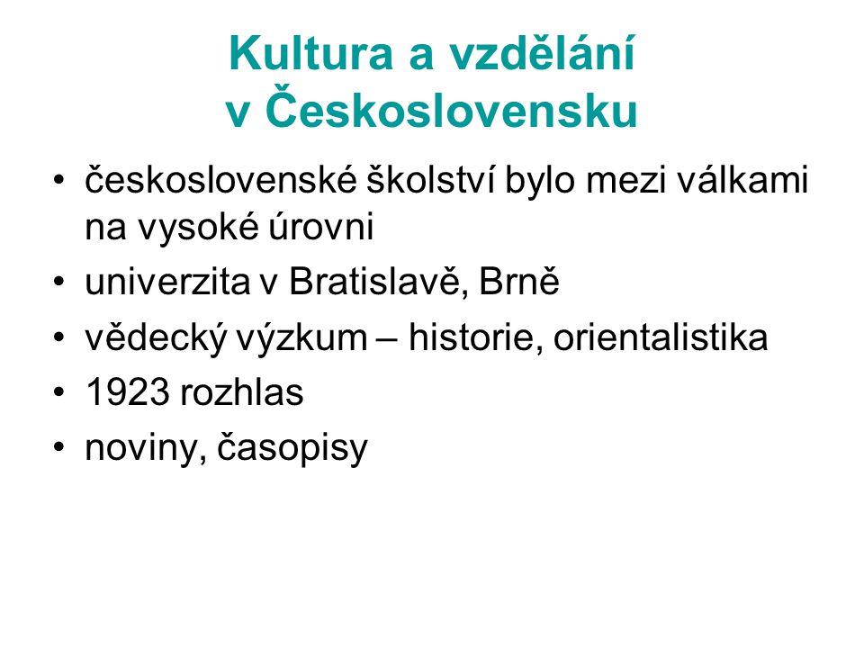 Kultura a vzdělání v Československu