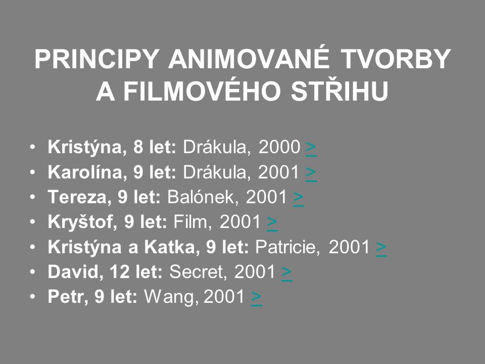 PRINCIPY ANIMOVANÉ TVORBY A FILMOVÉHO STŘIHU
