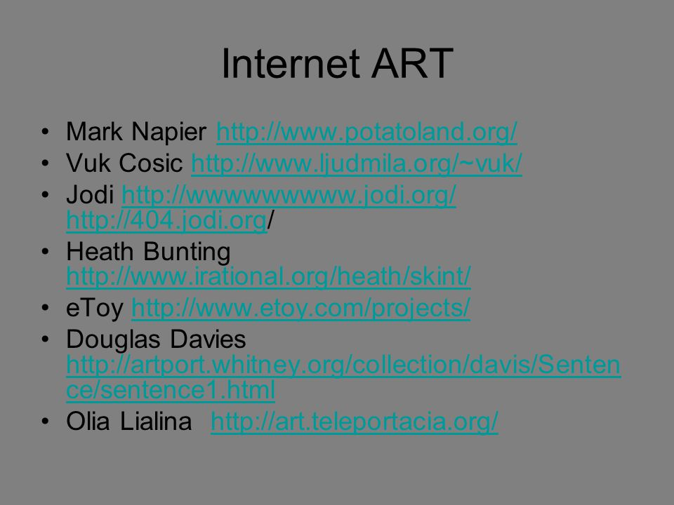 Internet ART Mark Napier http://www.potatoland.org/