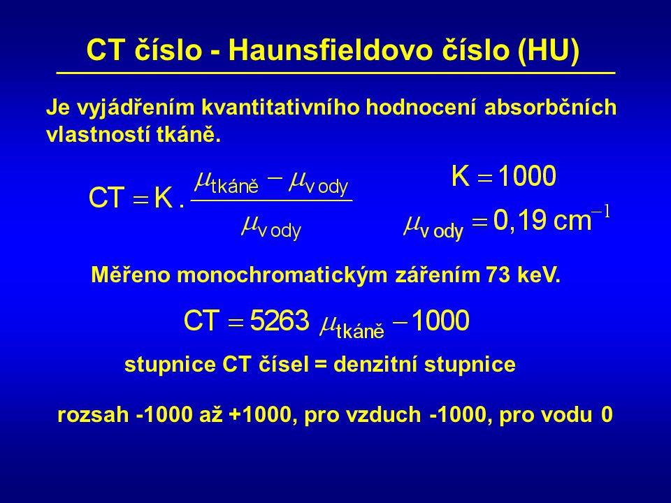 CT číslo - Haunsfieldovo číslo (HU)