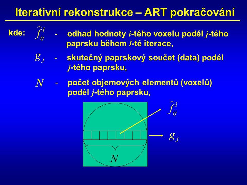 Iterativní rekonstrukce – ART pokračování