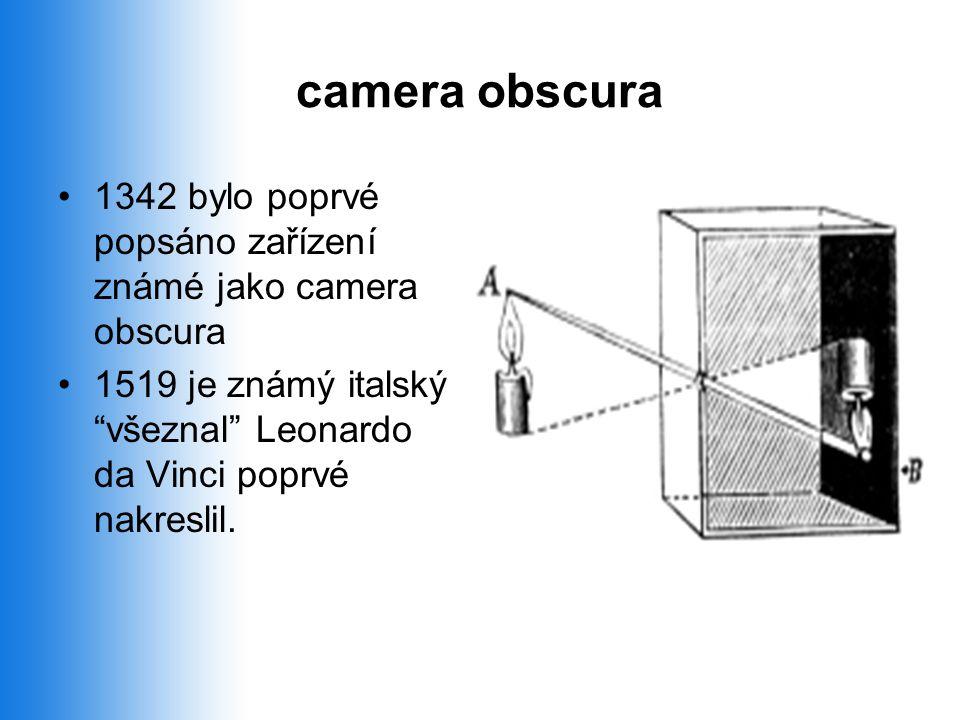 camera obscura 1342 bylo poprvé popsáno zařízení známé jako camera obscura.