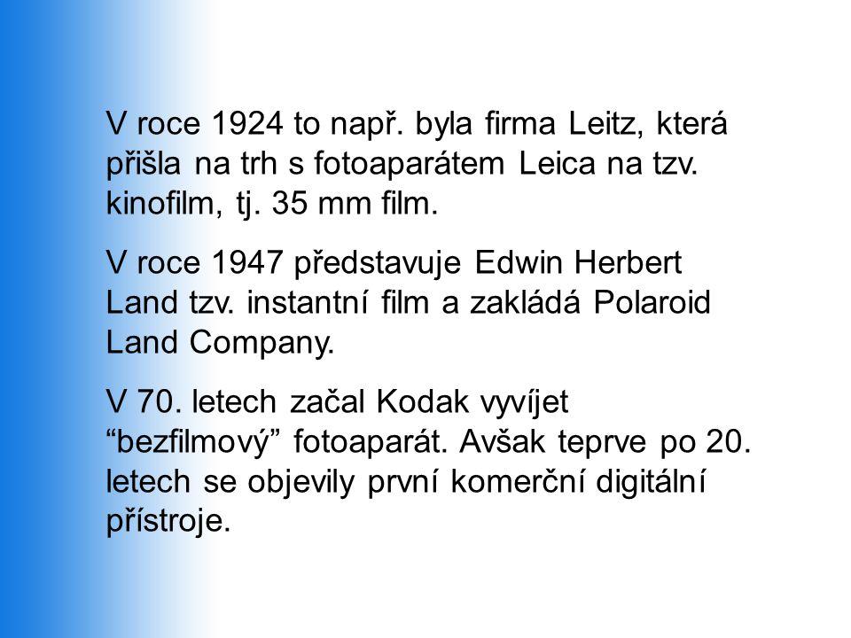 V roce 1924 to např. byla firma Leitz, která přišla na trh s fotoaparátem Leica na tzv. kinofilm, tj. 35 mm film.