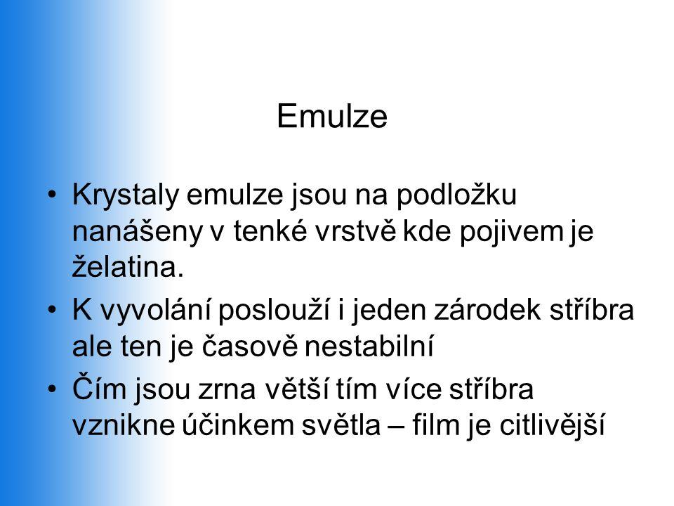 Emulze Krystaly emulze jsou na podložku nanášeny v tenké vrstvě kde pojivem je želatina.