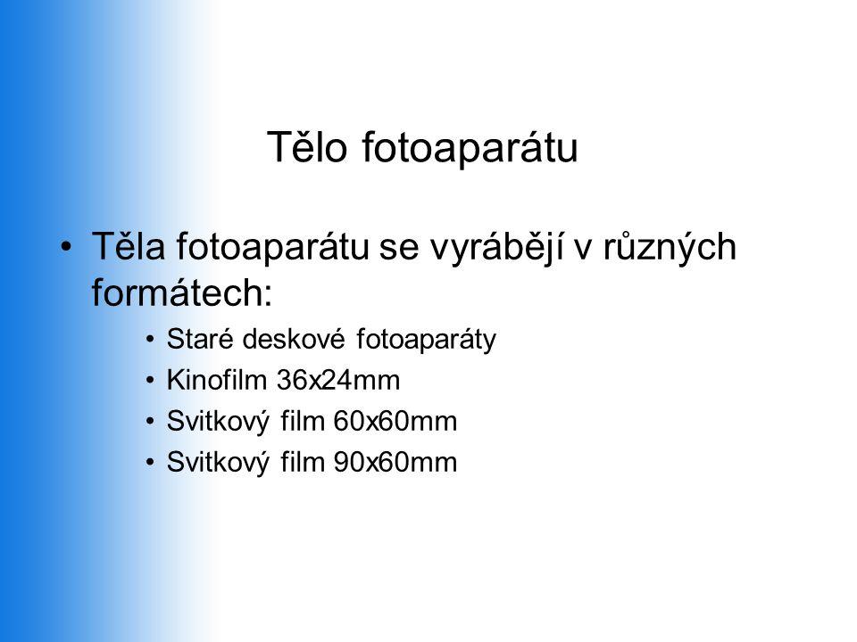 Tělo fotoaparátu Těla fotoaparátu se vyrábějí v různých formátech: