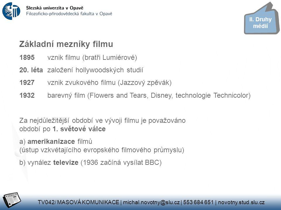 Základní mezníky filmu
