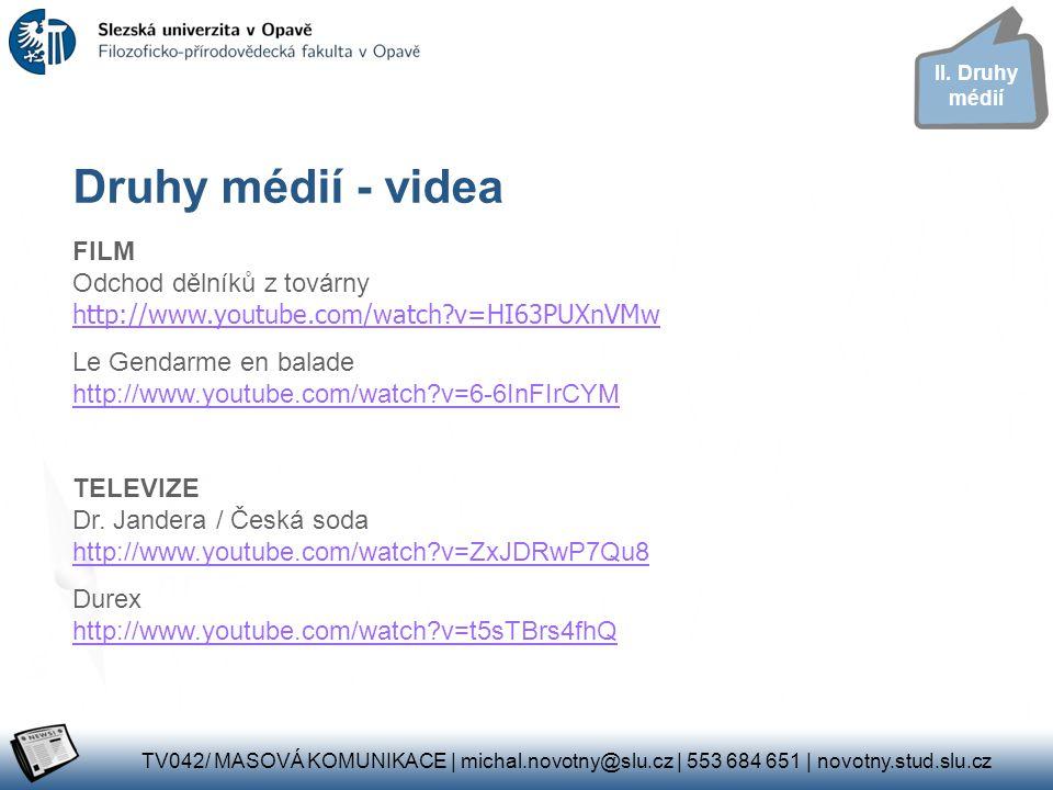 II. Druhy médií Druhy médií - videa. FILM Odchod dělníků z továrny http://www.youtube.com/watch v=HI63PUXnVMw.