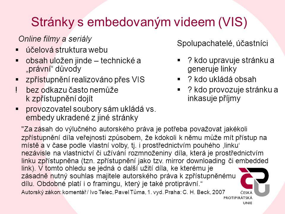 Stránky s embedovaným videem (VIS)