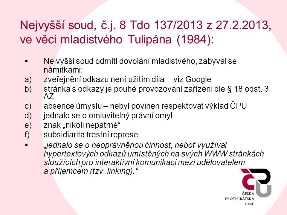 Nejvyšší soud, č.j. 8 Tdo 137/2013 z 27.2.2013, ve věci mladistvého Tulipána (1984):