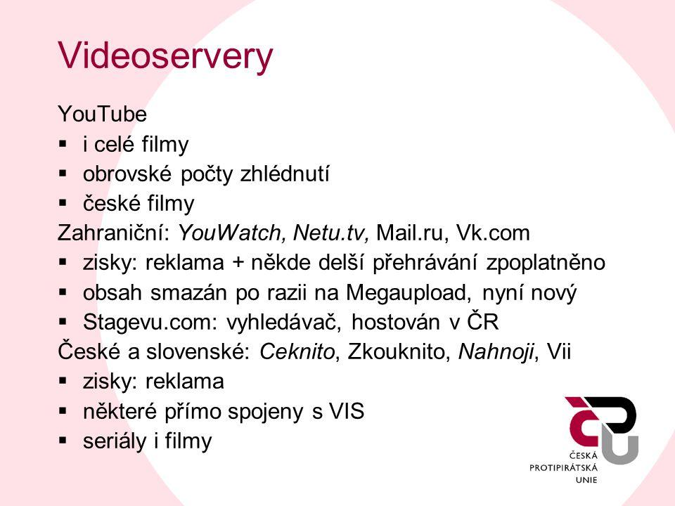 Videoservery YouTube i celé filmy obrovské počty zhlédnutí české filmy