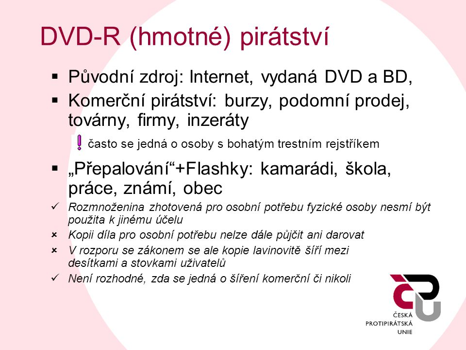DVD-R (hmotné) pirátství