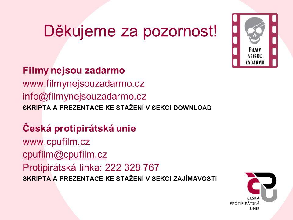 Děkujeme za pozornost! Filmy nejsou zadarmo www.filmynejsouzadarmo.cz