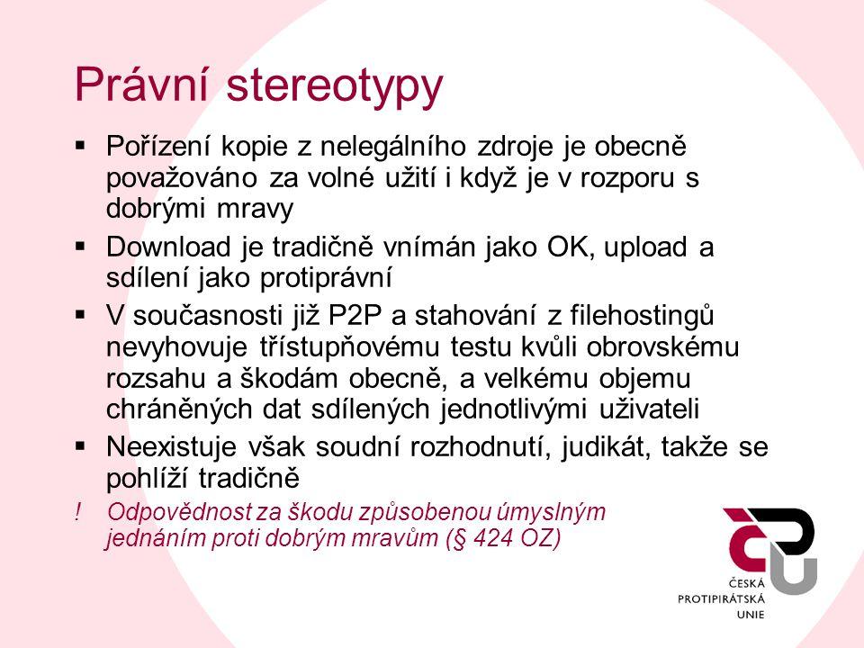 Právní stereotypy Pořízení kopie z nelegálního zdroje je obecně považováno za volné užití i když je v rozporu s dobrými mravy.