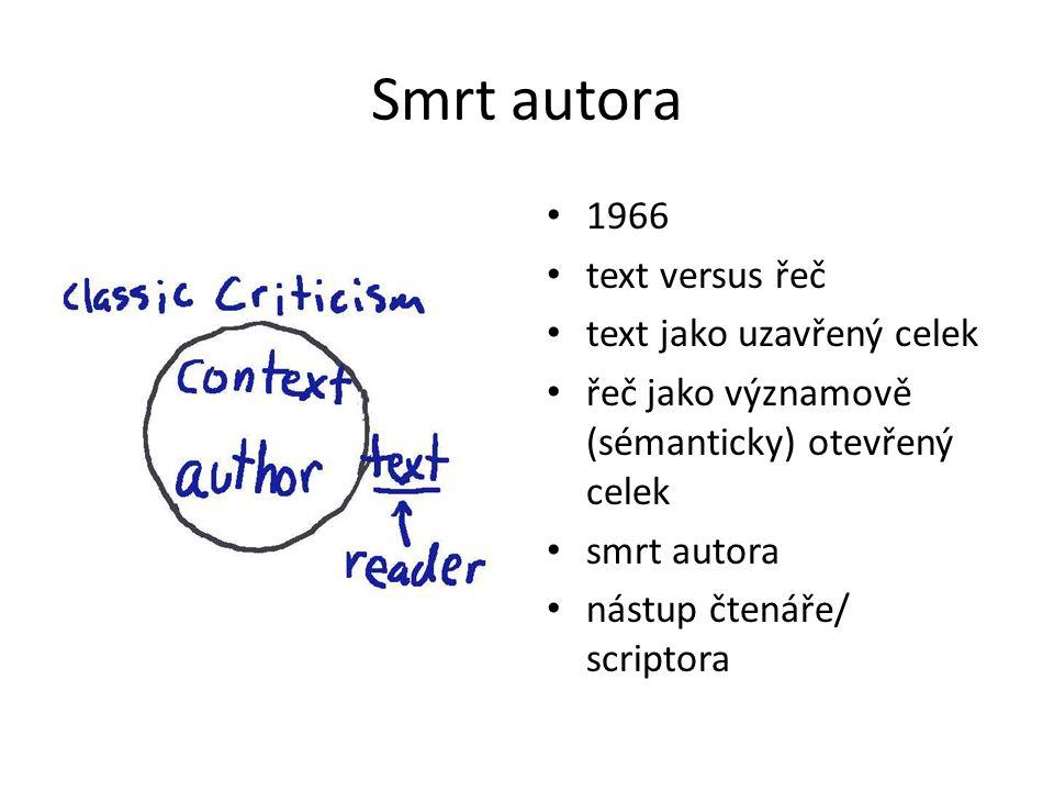Smrt autora 1966 text versus řeč text jako uzavřený celek