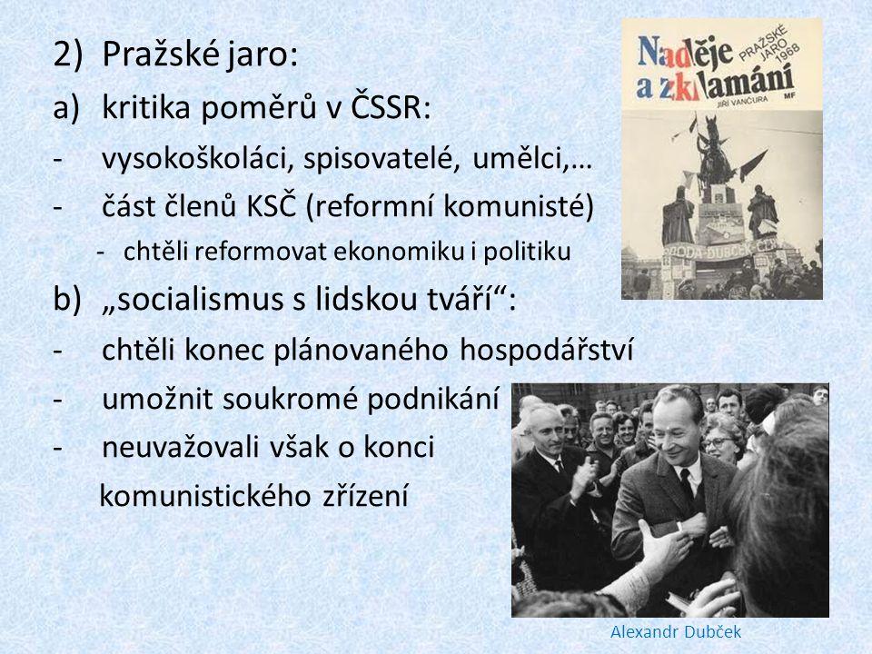 """Pražské jaro: kritika poměrů v ČSSR: """"socialismus s lidskou tváří :"""