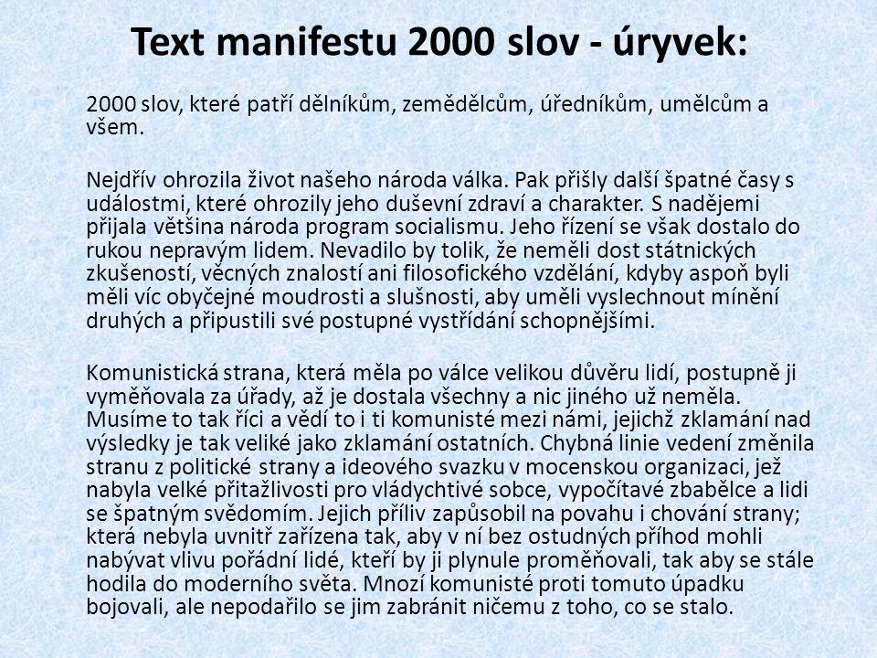 Text manifestu 2000 slov - úryvek: