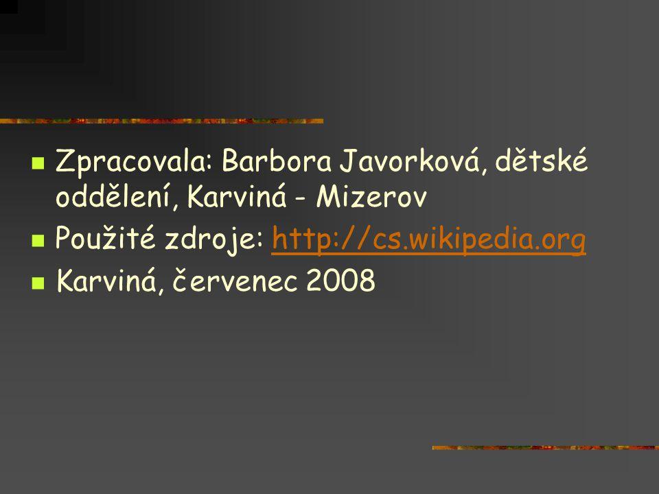 Zpracovala: Barbora Javorková, dětské oddělení, Karviná - Mizerov