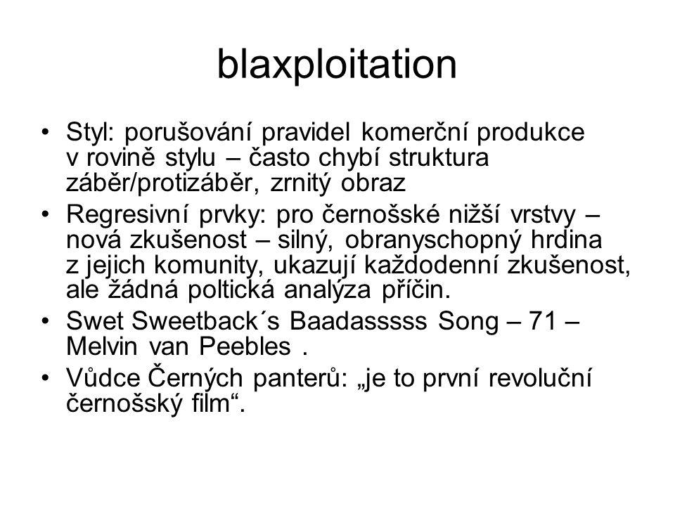 blaxploitation Styl: porušování pravidel komerční produkce v rovině stylu – často chybí struktura záběr/protizáběr, zrnitý obraz.