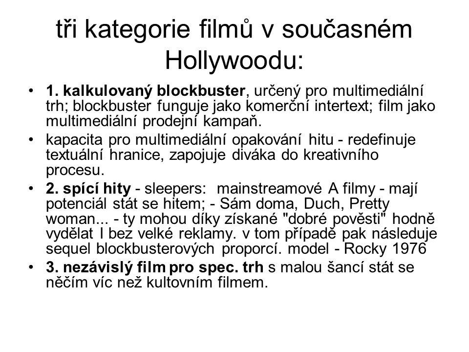 tři kategorie filmů v současném Hollywoodu:
