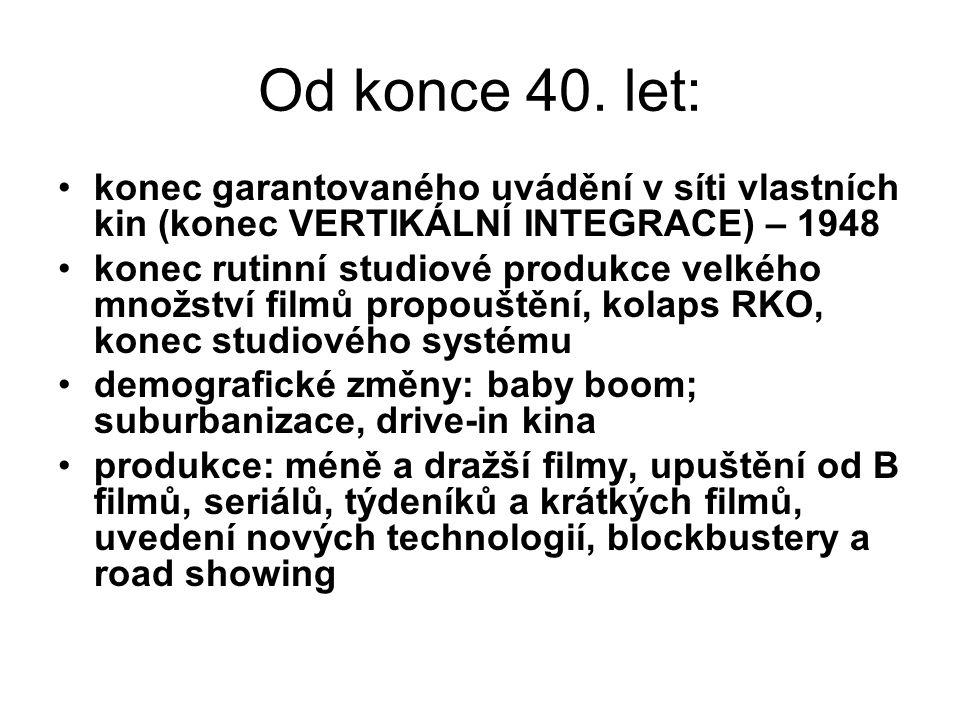 Od konce 40. let: konec garantovaného uvádění v síti vlastních kin (konec VERTIKÁLNÍ INTEGRACE) – 1948.