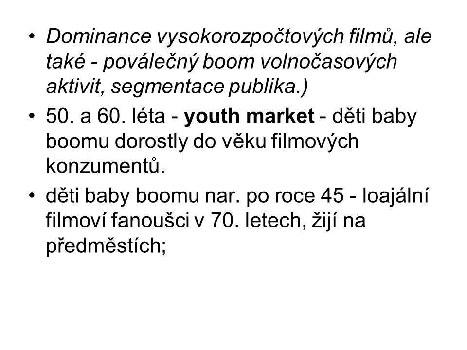 Dominance vysokorozpočtových filmů, ale také - poválečný boom volnočasových aktivit, segmentace publika.)