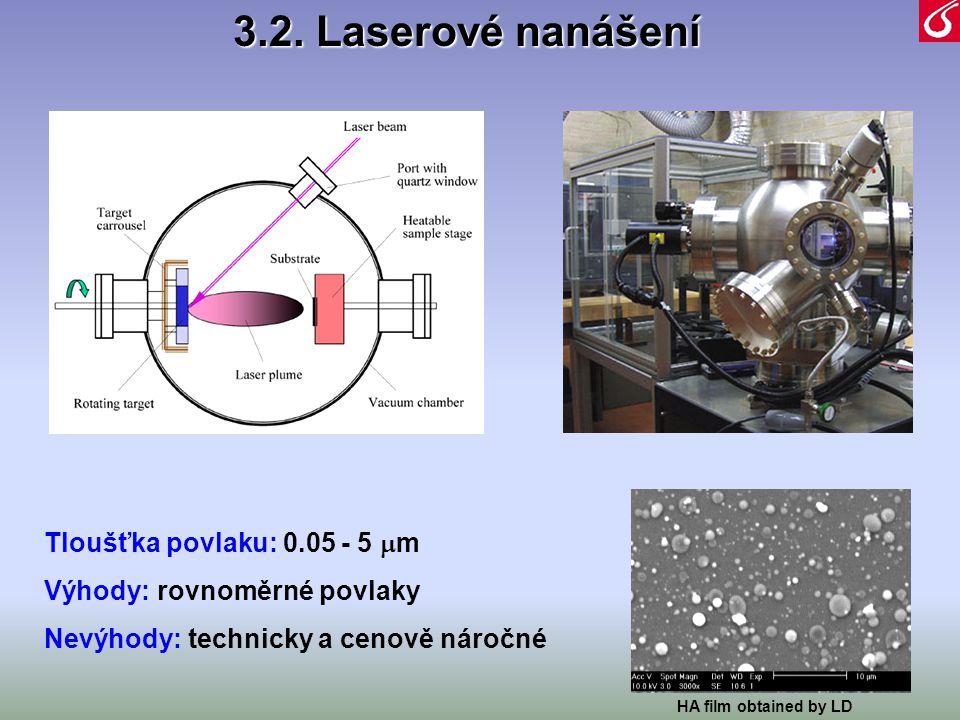 3.2. Laserové nanášení Tloušťka povlaku: 0.05 - 5m
