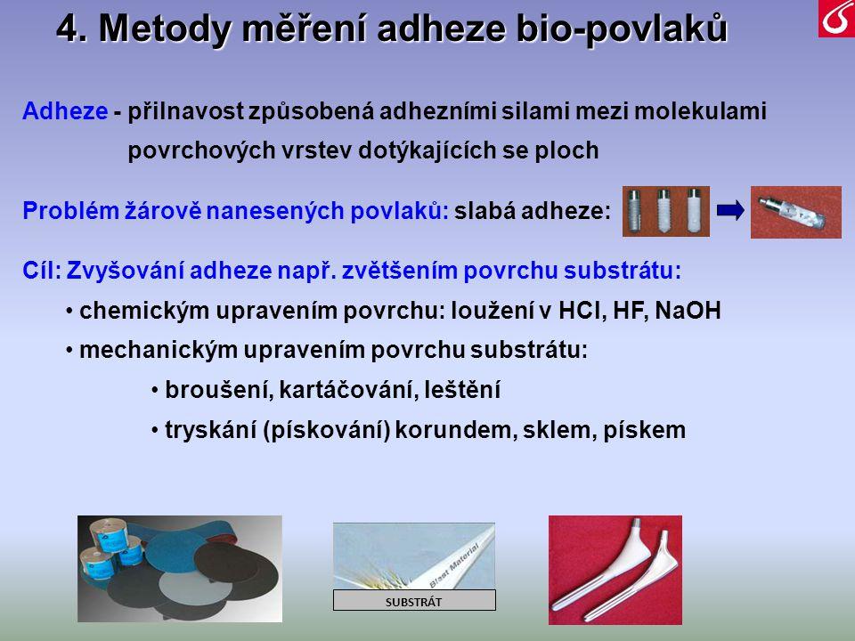 4. Metody měření adheze bio-povlaků