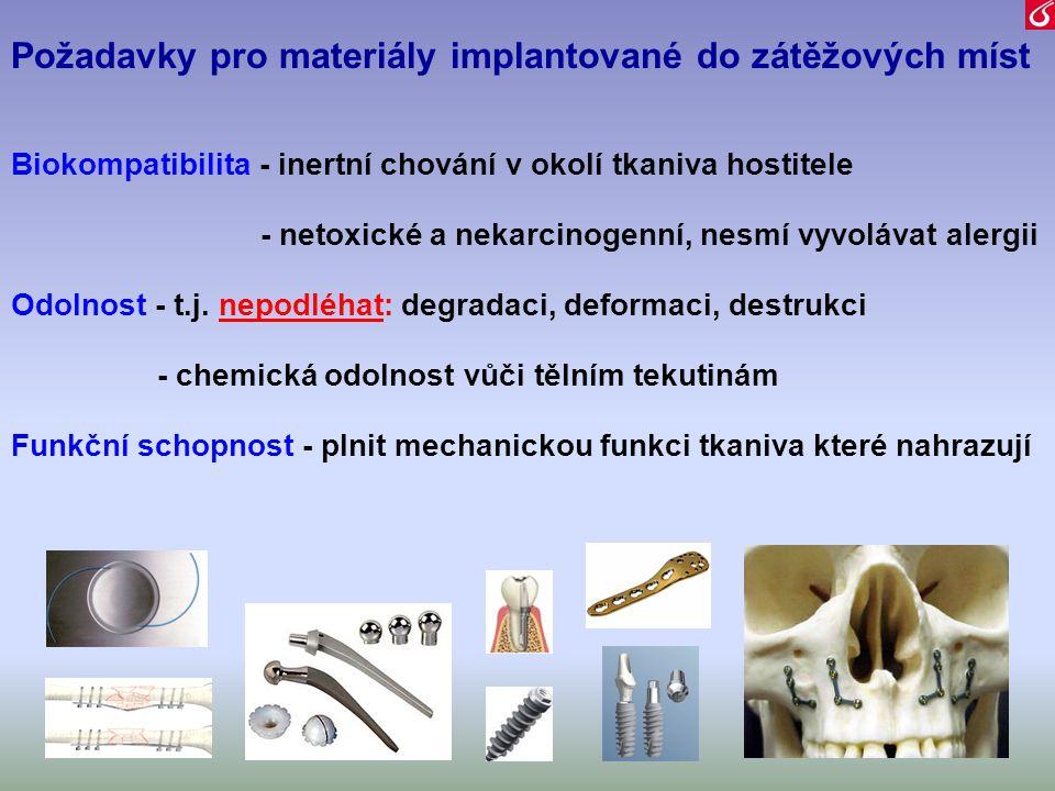 Požadavky pro materiály implantované do zátěžových míst