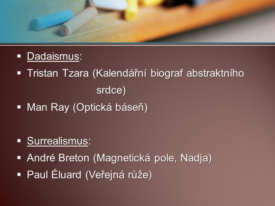 Dadaismus: Tristan Tzara (Kalendářní biograf abstraktního. srdce) Man Ray (Optická báseň) Surrealismus: