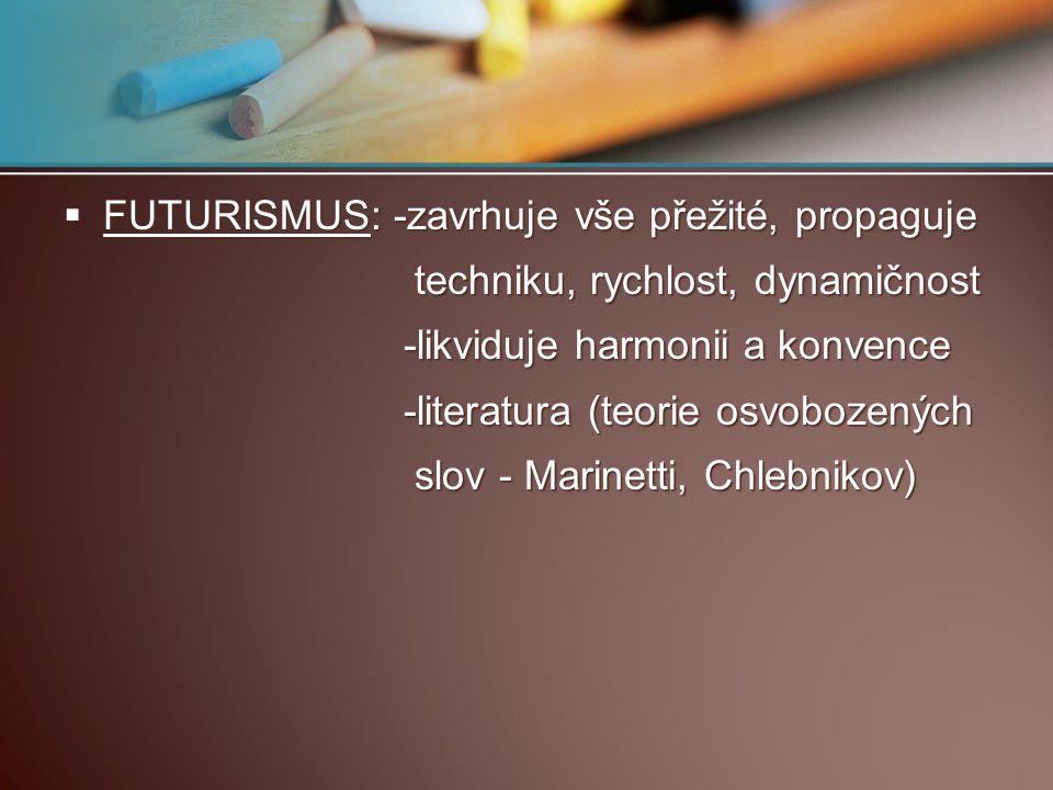 FUTURISMUS: -zavrhuje vše přežité, propaguje