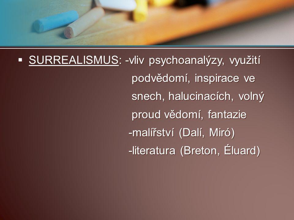 SURREALISMUS: -vliv psychoanalýzy, využití