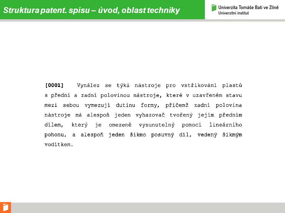 Struktura patent. spisu – úvod, oblast techniky