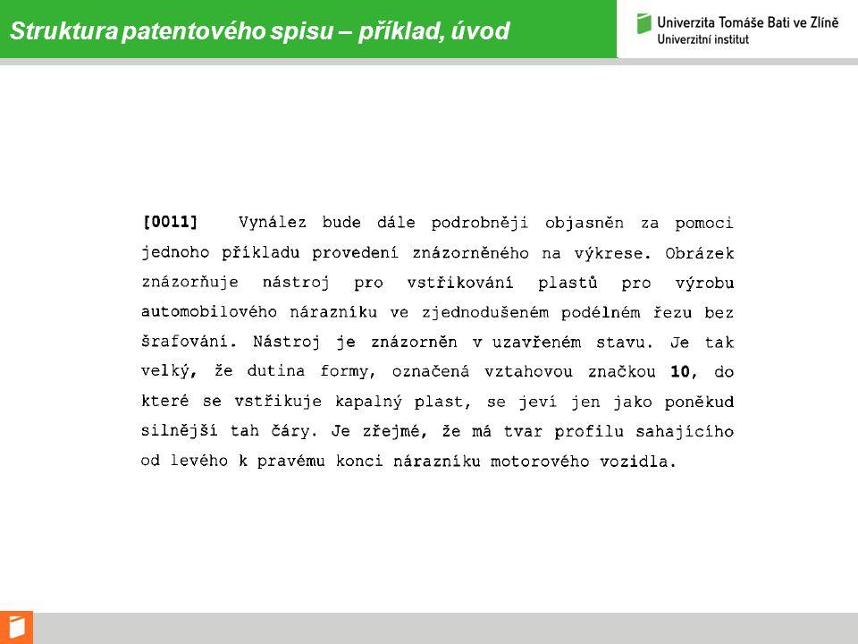 Struktura patentového spisu – příklad, úvod
