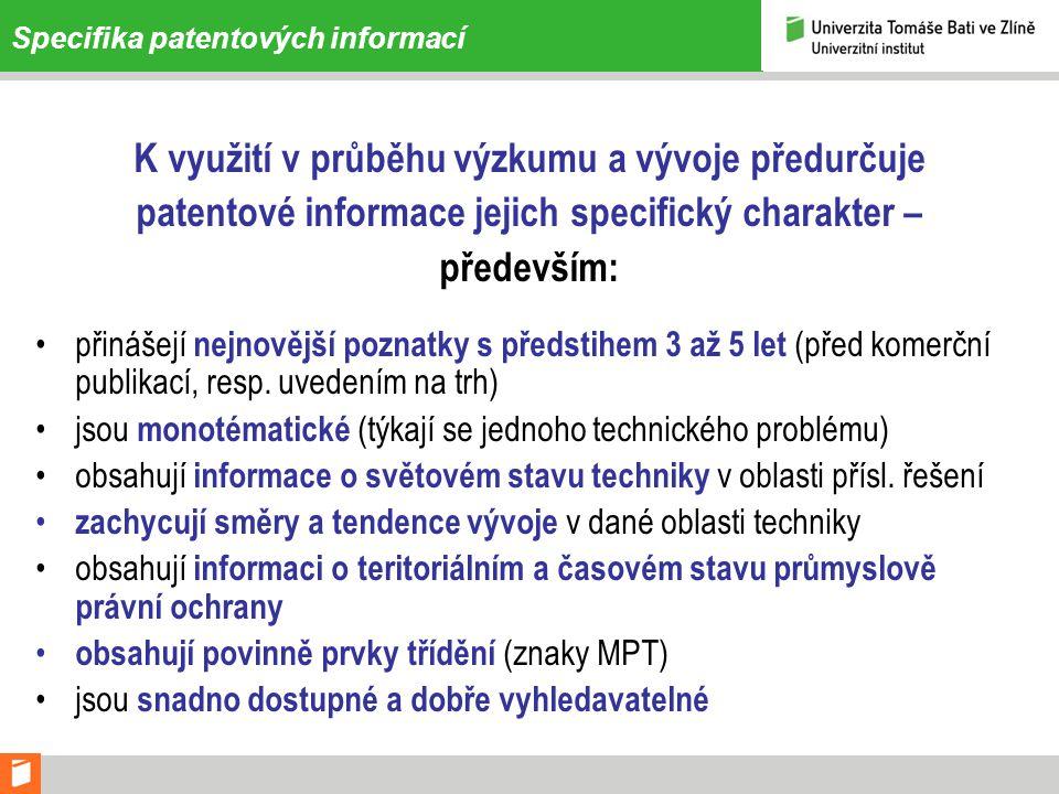 Specifika patentových informací