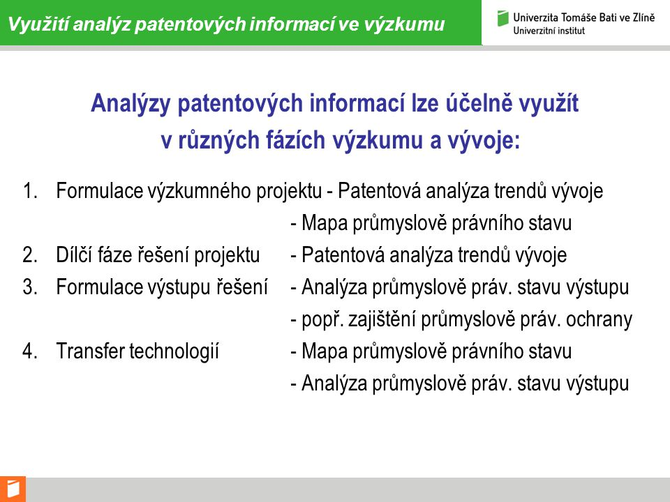 Využití analýz patentových informací ve výzkumu
