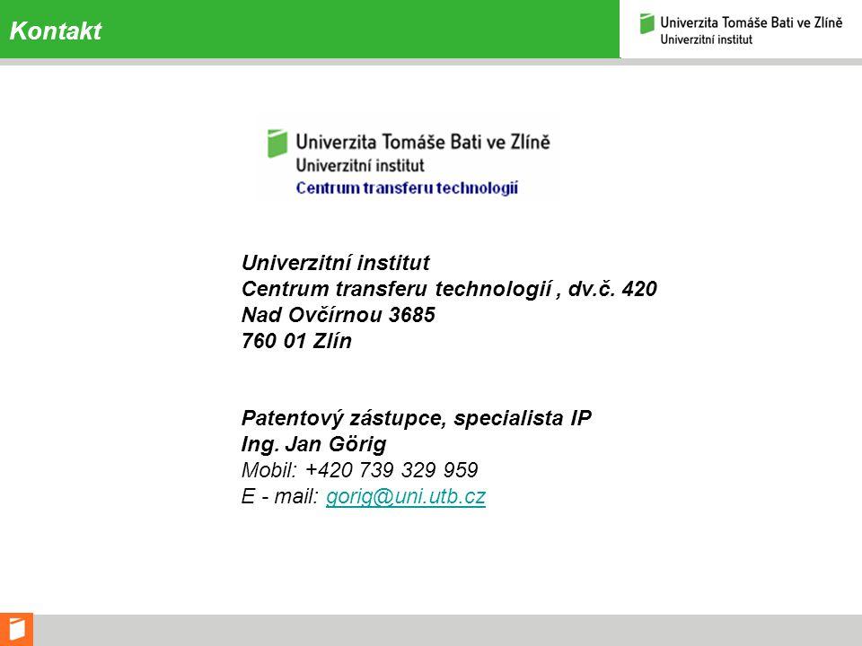 Kontakt Univerzitní institut Centrum transferu technologií , dv.č. 420