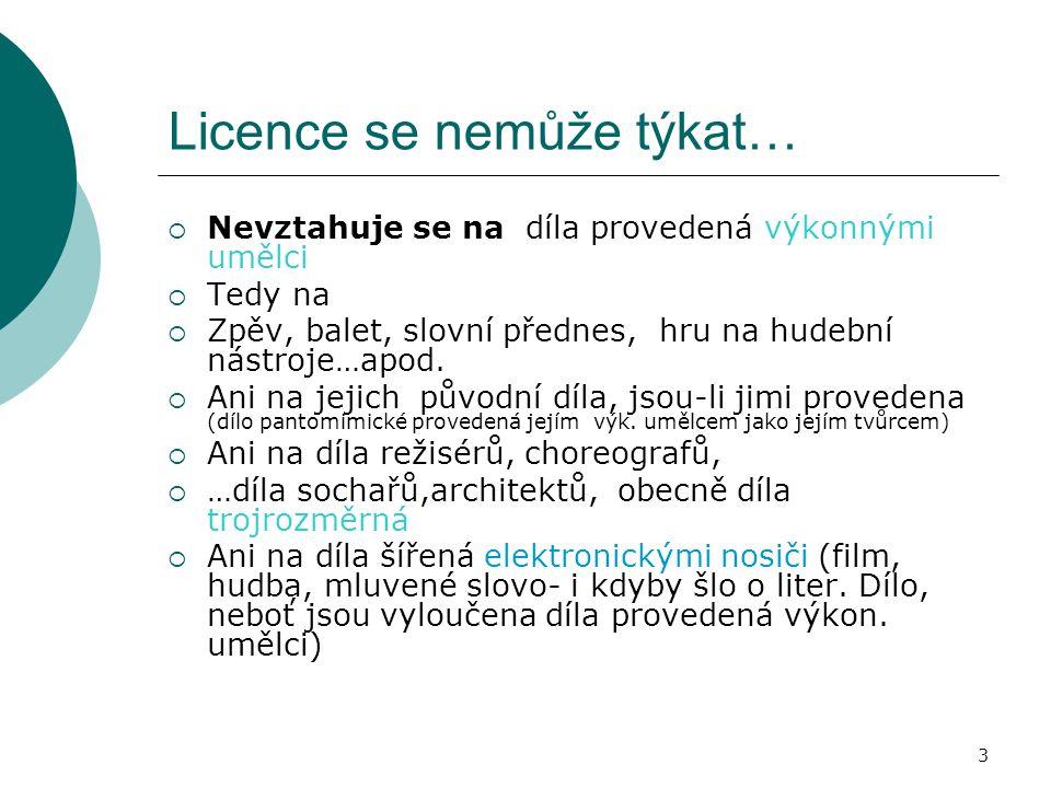 Licence se nemůže týkat…