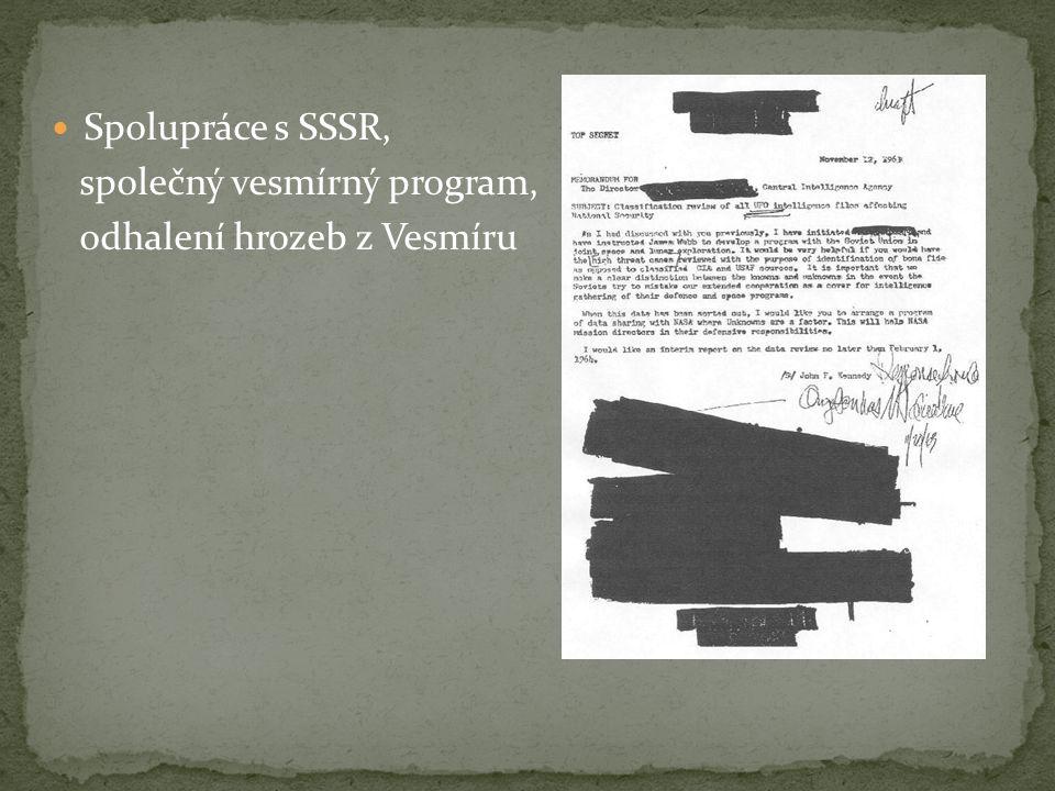 Spolupráce s SSSR, společný vesmírný program, odhalení hrozeb z Vesmíru