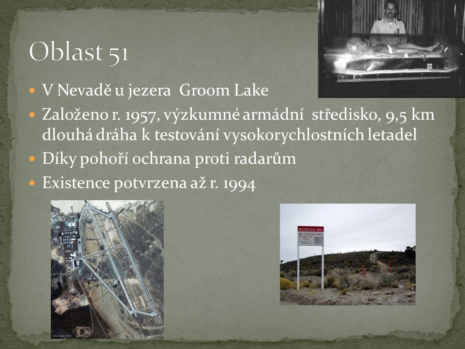 Oblast 51 V Nevadě u jezera Groom Lake